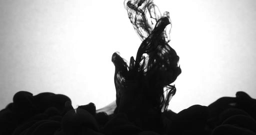 Droping black ink in the water behind the white background ライブ動画