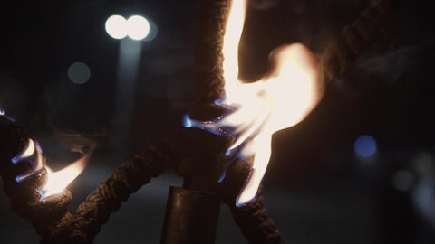 Fire show performance. burner lights a thick rope Footage