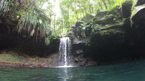 Bassin Paradise waterfall in Basse Terre jungle, Guadeloupe Footage