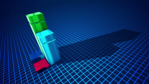 Four abstract columns shaping a diagram, Stock Animation
