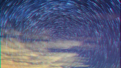 Glitch effect. Stars leave traces. Time Lapse Footage