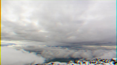 Glitch effect. Between clouds. Time Lapse Footage