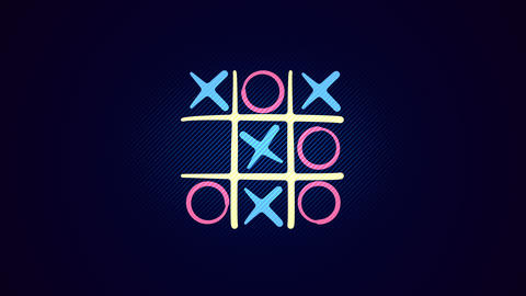 Tic-tac toe match in the blue background Animation