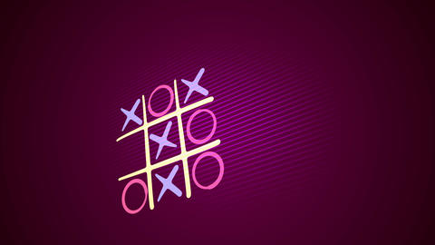 Noughts and crosses game in purple backdrop Animation