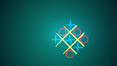 Noughts and crosses play in green backdrop Animation
