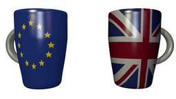 Coffee cup clink between EU and UK - 3d looping animation on white Footage