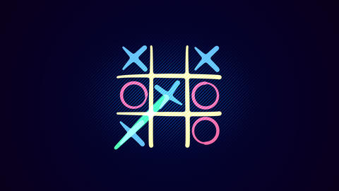 Tic-tac toe game in the black backdrop Animation