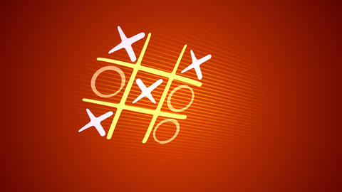 Tic-tac toe game in the orange backdrop Animation