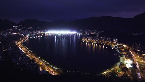 Panning shot of metropolis and lagoon in Rio de Janeiro, Brazil Footage