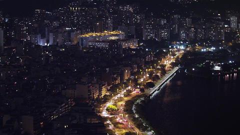 Panning shot of skyline of Rio de Janeiro, Brazil at night Live Action