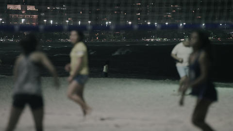 Close-up shot of female volleyball players on the beach Footage