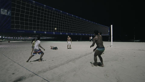 Shot of night volleyball game on Copacabana beach Footage