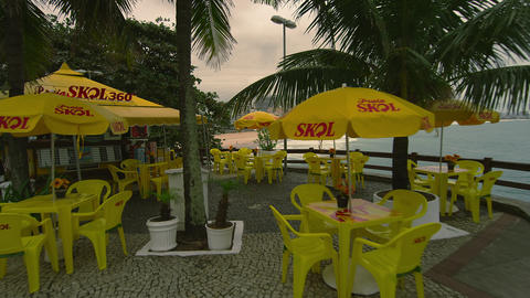 RIO DE JANEIRO, BRAZIL - JUNE 23: Slow dolly shot of outdoor cafe on June 23, 20 Live Action