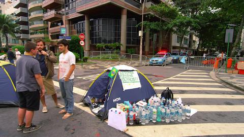 RIO DE JANEIRO, BRAZIL - JUNE 23: Slow pan of demonstrators on June 23, 2013 in  Live Action
