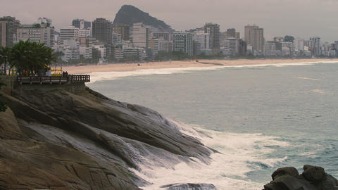 Slow motion pan of rocky coastline of Rio de Janeiro, Brazil Footage