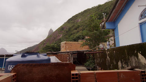 RIO DE JANEIRO, BRAZIL - JUNE 23: Slow pan of favela on June 23, 2013 in Rio, Br Footage
