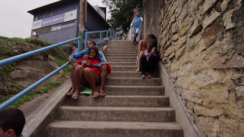 RIO DE JANEIRO, BRAZIL - JUNE 23: Slow motion, people on stairs on June 23, 2013 Footage