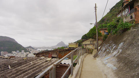 Slow motion tracking shot - going up stairs in a favela in Rio de Janeiro, Brazi Footage