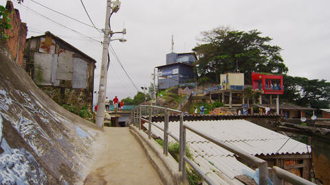 Tracking shot of a community in a favela in Rio de Janeiro, Brazil Footage