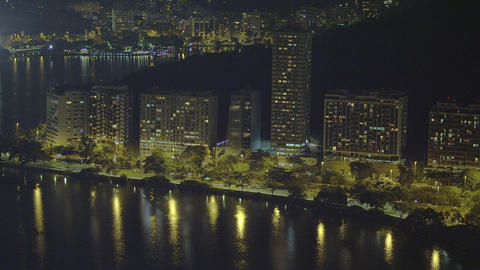 Slow pan of downtown Rio de Janeiro along the coastline in Brazil Footage