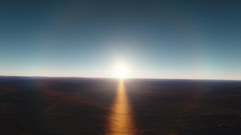 No Man's Land - Flight Over Deserted Lowlands by Sunset Animation