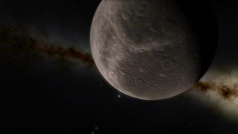 Enceladus Moon and Planet Saturn Transit Animation