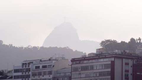 Shot of the Cristo Redentor statue from a circling helicopter, in Rio de Janeiro Footage