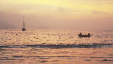 Boats floating at sea near Rio de Janeiro, Brazil Footage