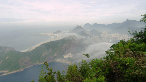Shot of a misty coastline from a mountain in Rio de Janeiro, Brazil Footage