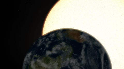 Closeup of Earth Rotation with a Gigantic Perspective of the Sun Transit Animation