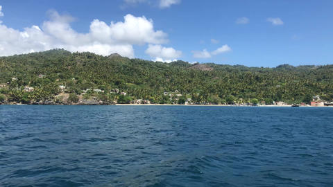 View from the boat on the Samana Peninsula in the Dominican Republic Live Action