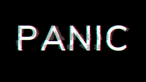 From the Glitch effect arises text PANIC. Then the TV turns off. Alpha channel Premultiplied - Animation