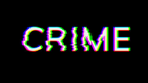 From the Glitch effect arises text CRIME. Then the TV turns off. Alpha channel Premultiplied - Animation