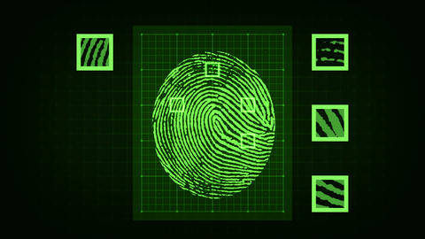 Fingerprint scanning and biometric data analysis process Animation