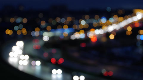Bokeh from car light on the traffic road Footage