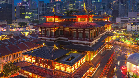 Buddha Tooth Relic Temple at night in Singapore timelapse Footage