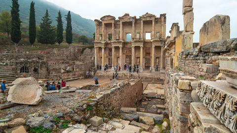 The Library of Celsus in Ephesus the ancient Greek city in Selcuk, Izmir province Turkey Footage