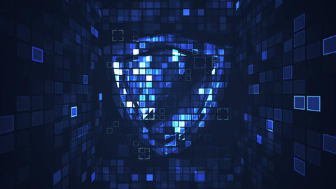 Abstract blue cyber digital technology seamless looping motion graphic animation Animation