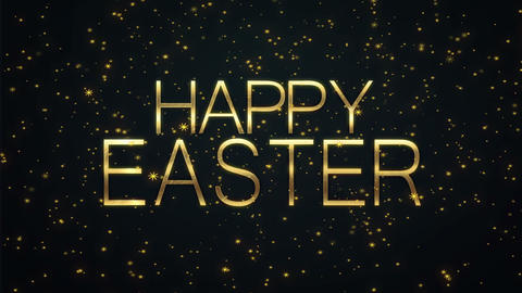 Happy Easter text with sparkling particles shiny background Animación