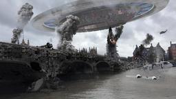 Alien Spaceship Invasion Over Destroyed London City Illustrattion Footage