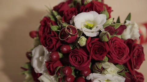 Bouquet of fresh roses. Festive bouquet of fresh flowers. Wedding bridal bouquet Live Action