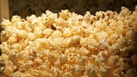 Close up shot of fresh made popcorn Footage