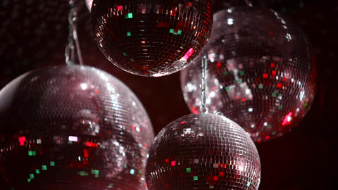 Mirrorballs in a club - close up shot in slow motion Live Action