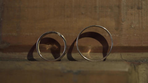 Beautiful gold wedding rings for the wedding ceremony Footage