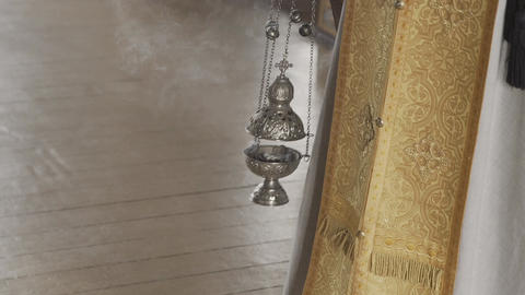 orthodox censer with incense smoke Footage