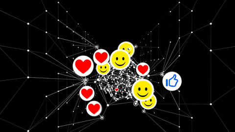 Smiles, Thumbs up and Hearts Symbols Looped 3d Animation. Social Media Icons Footage