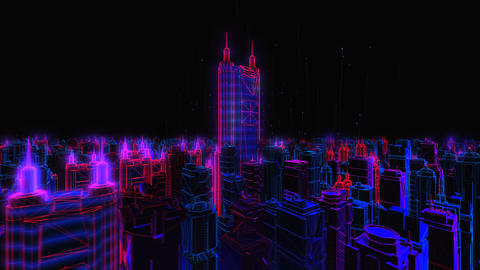 Geometric laser cityscape. Seamless neon retro futuristic animation with shallow depth of field Footage