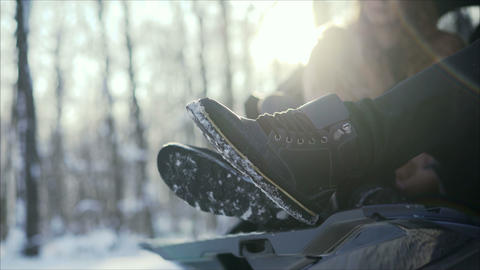 Men's shoes in winter. Men's winter boots on snow. Brown men's warm winter boots Footage