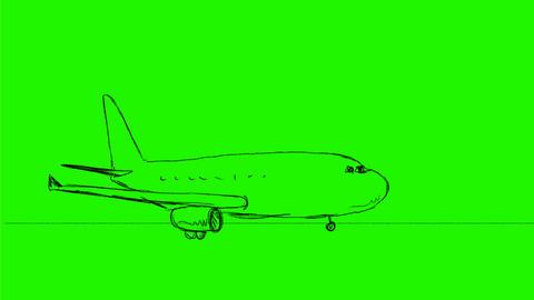 Passenger Jet Airplane Taking Off Drawing 2D Animation Animación