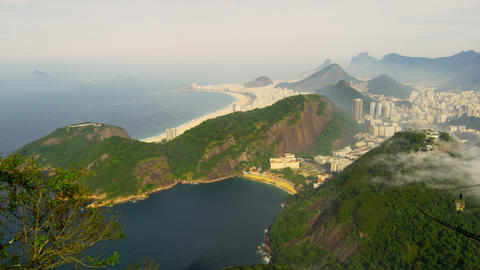 Pan of the Brazilian coastline in Rio de Janeiro on a misty day Footage